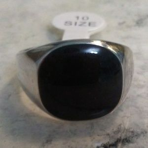 Other - Men's Stainless Steel Black CZ Ring, SIZE 9